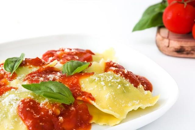 Fresh ravioli pasta with house made sauce