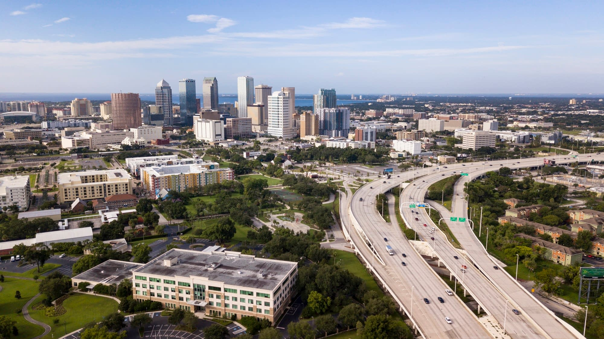 Aerial View Over Interstate Highway Leading to Downtown Tampa Fl